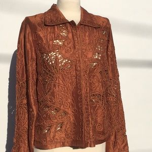 Coldwater Creek 100% copper colored silk jacket.